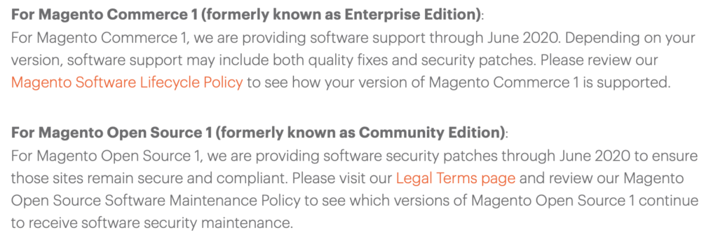 Magento 1 End of Life Blog snippet